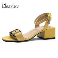 2019 Summer fashion sandals fish mouth ladies sandals suede high heels square heel women's buckle shoes size 34 43 C0641