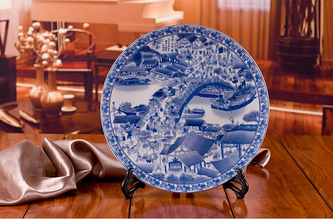Chinese Antique Blue White Porcelain Wall Decorative Ceramic Plates For Wall Hanging & Large size oriental decorative blue and white porcelain ceramic ...