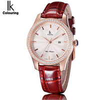 2018 IK Colouring Newest Fashion Women Quartz Watch Fashion Casual Clock Waterproof Female Leather Women S