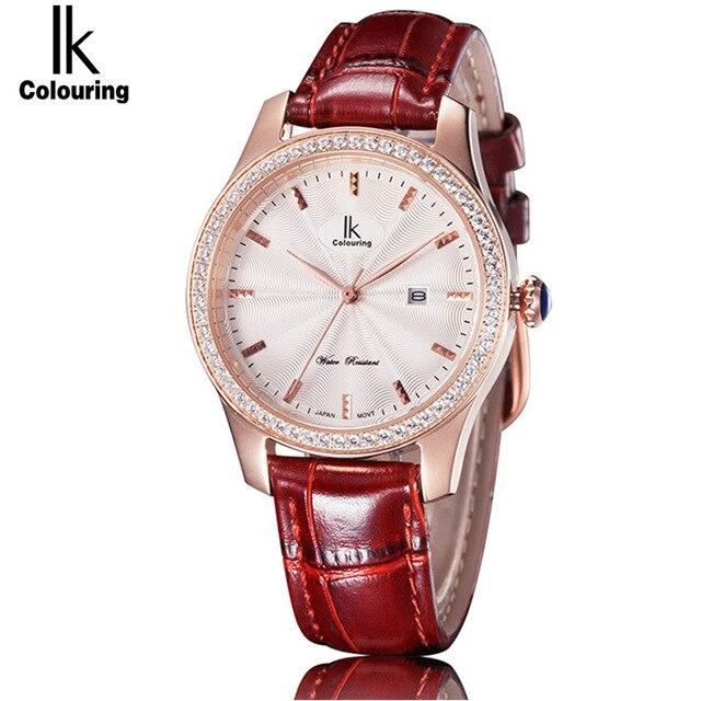 2018 IK colouring date mode femmes montre à Quartz mode horloge décontractée étanche femme en cuir montres pour femmes 4594