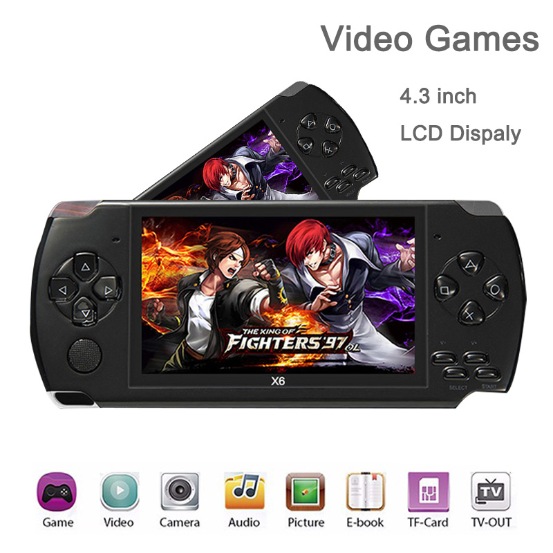цены Handheld Video Game Console 32bit Classic Games Black Retro Portable 8GB Game Console Player 4.3 inch with Camera support MP3