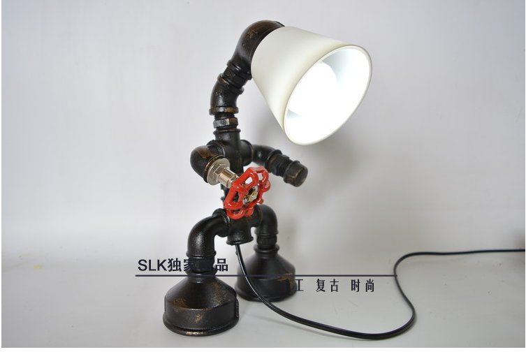 E27 Edison Bulb pipe lamp Vintage Industrial Retro Style Steel Pipe Desk Table Lamp led  ...