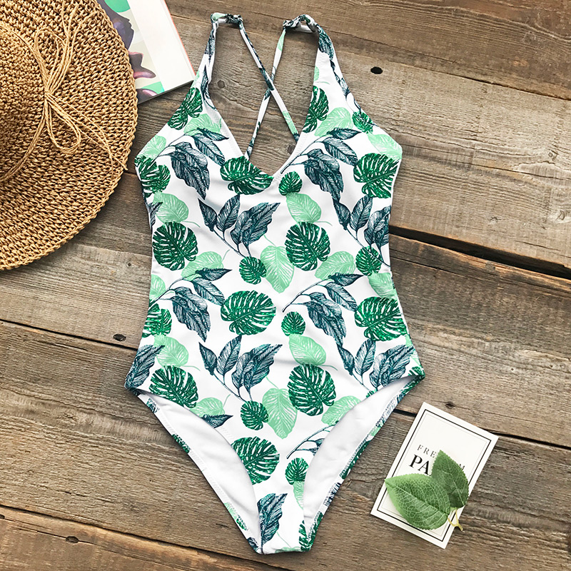 Cupshe Beauties Of Nature Print One-piece Swimsuit Sexy Knot Bikini Set Ladies Beach Bathing Suit Swimwear with Back Cutout
