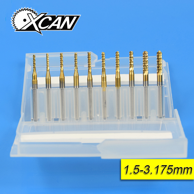 10pcs/set 1.5-3.175mm Carbide CNC Router Bits End Mills Milling Cutter Spiral Milling Cutter Router Bit CNC Drill Bit free shipping 10pcs carbide cnc router bits two flutes spiral end mills double flutes milling cutter spiral pvc cutter 4mm 22mm