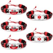 Diabetes Diabetic Type 1 2 Medical Alert Leather Bracelets 25*18mm Glass Dome Cabochon Jewelry Women Men Girl Boy Unisex Gift