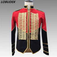England Style Men's Court Clothes Trendy Epaulet Black red Stitching Military Uniform Jacket Rock Singer Nightclub Stage Costume