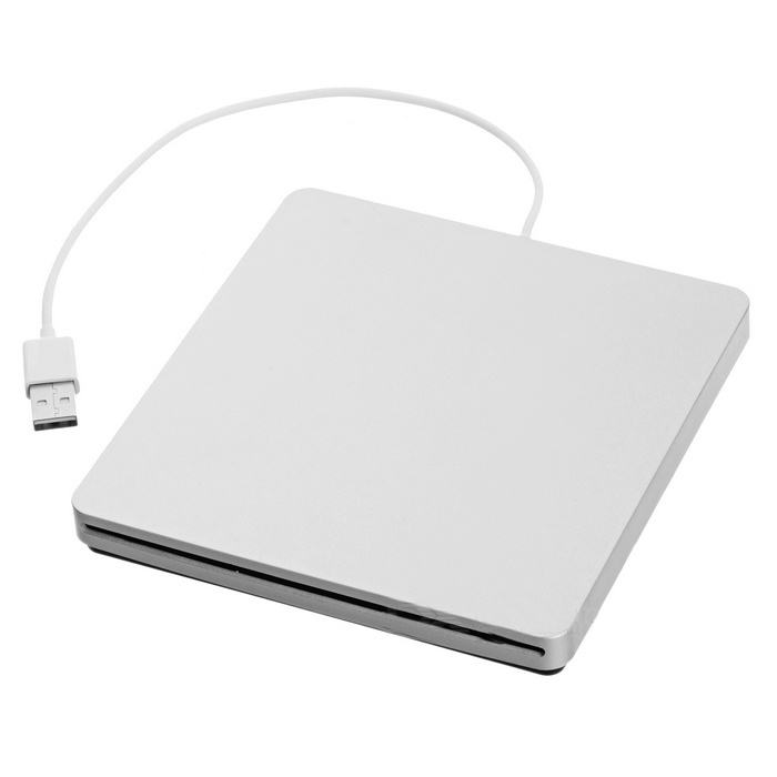 Super Slim USB Superdrive Enclosure SATA External Slot Loading DVD Burner Case Caddy - Silver