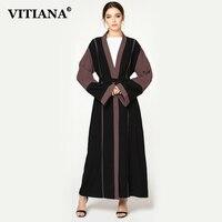 VITIANA Women Plus Size Maxi Long Islam Muslim Abaya Dress Female Autumn Elegant Loose Dresses Islamic