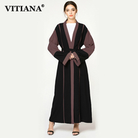 VITIANA Women Plus Size Maxi Long Islam Muslim Abaya Dress Female Autumn Elegant Loose Dresses Islamic