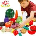 Crianças de madeira de corte toys colorido kit de corte de frutas legumes pretend play toy food cozinha educacional toys presente