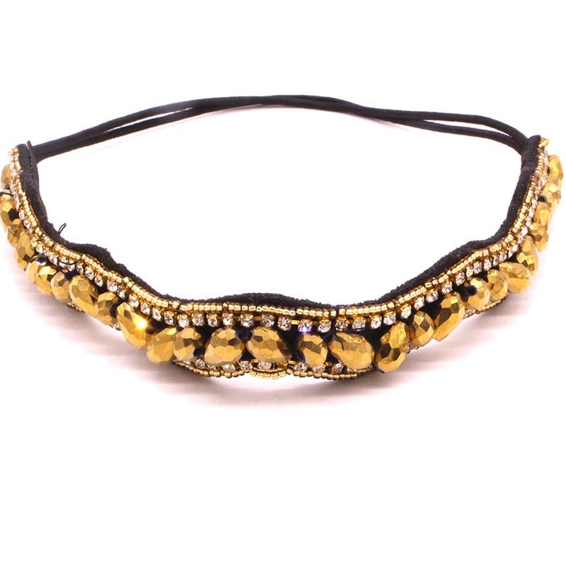 Metting joura в богемном стиле с украшением в виде кристаллов пистолет, украшенный стразами черный Facetedmetal бусины головная повязка, завязка для волос аксессуары для волос - Цвет: Золотой