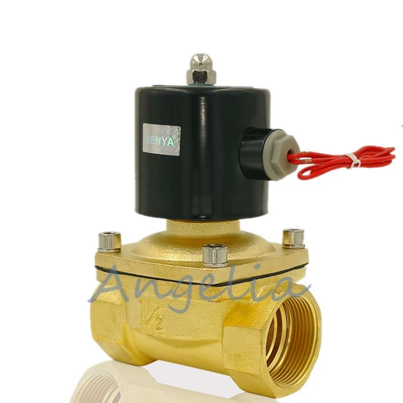 "1//4/"" BSP AC220V//110V DC24V//12V Brass Electric Solenoid Valve Water Normally Open"