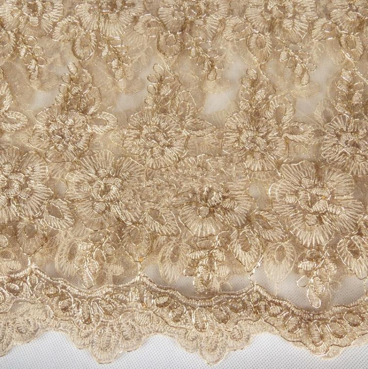 2 yarda 120 cm tela de encaje dorado para la boda vestidos cordón