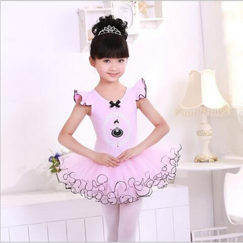 New Year Girls Dancing Dresses Lace Short Sleeve Children Ballet Clothing Cotton Kids Performance Costume