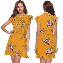 Summer new popular New Zealand fashion personality Bohemia elegant print loose high waist female sexy dress