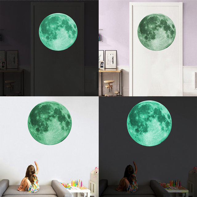 30cm Luminous Moon 3D Wall Sticker for kids room living room bedroom decoration home decals Glow in the dark Wall Stickers 6