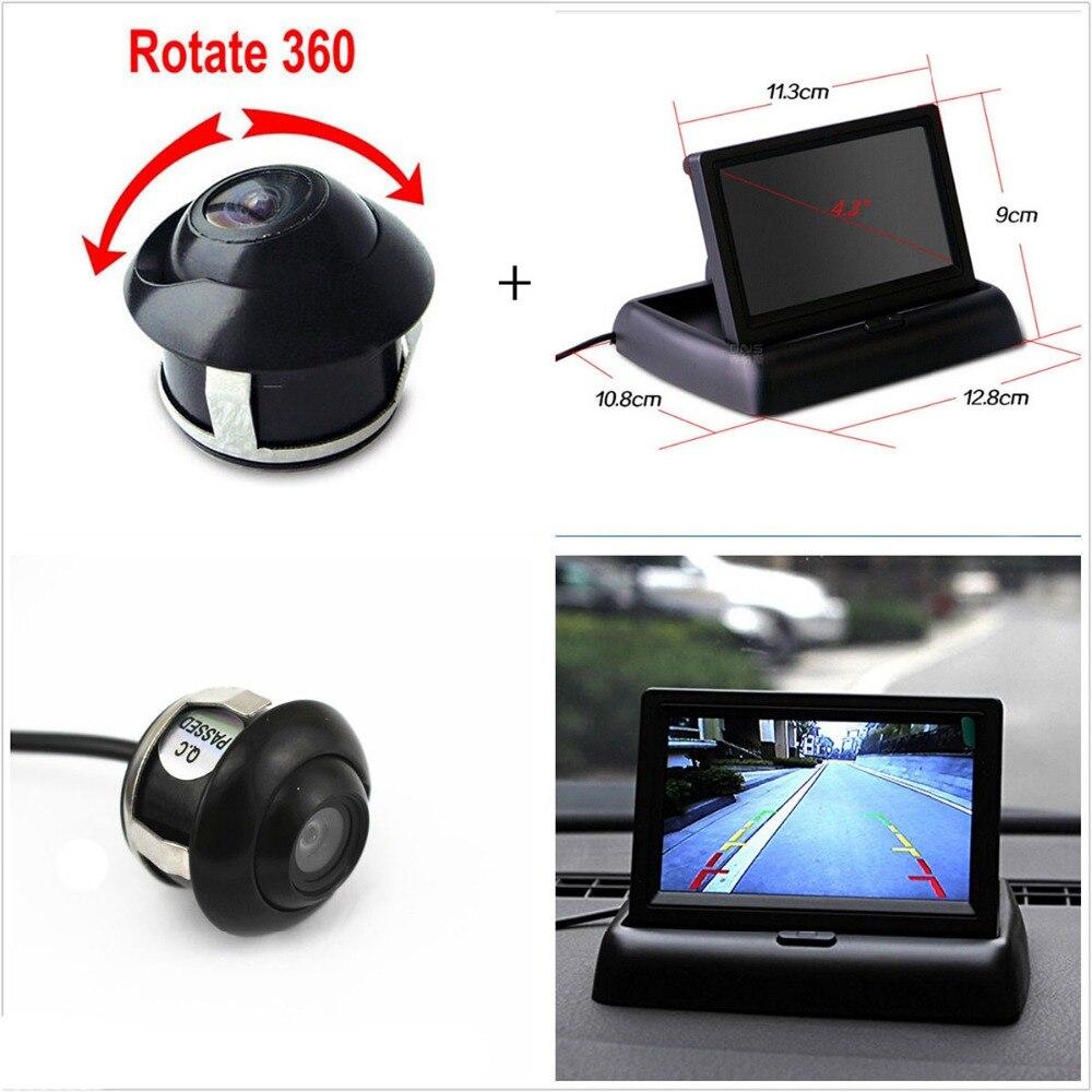 imágenes para Plegable de 4.3 pulgadas Retrovisor Del Coche Monitor con Cámara de Visión Trasera de Ayuda Al Aparcamiento monitor de pantalla tft lcd de coches inversa cámara