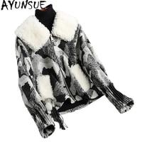 AYUNSUE 2020 Fashion Woolen Coats Warm Tussah Silk Liner Winter Coat Women Natural Lamb Fur Collar Jacket Outerwear 18017WYQ1800