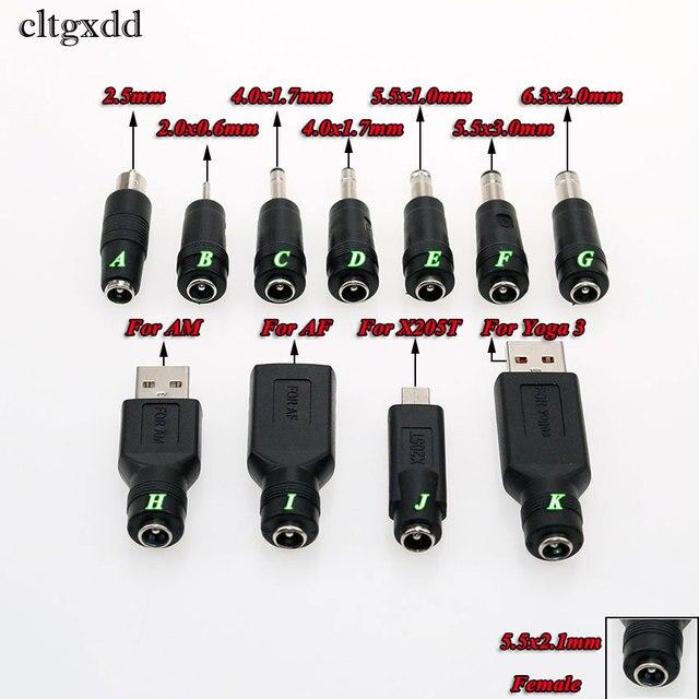 Cltgxdd 1pcs 5.5*2.1mm Vrouwelijke Jack naar USB 2.0 2.0*0.6 4.0*1.7 5.5 * 3.0mm Mannelijke Plug DC Power Connector Adapter Voor Asus X205T
