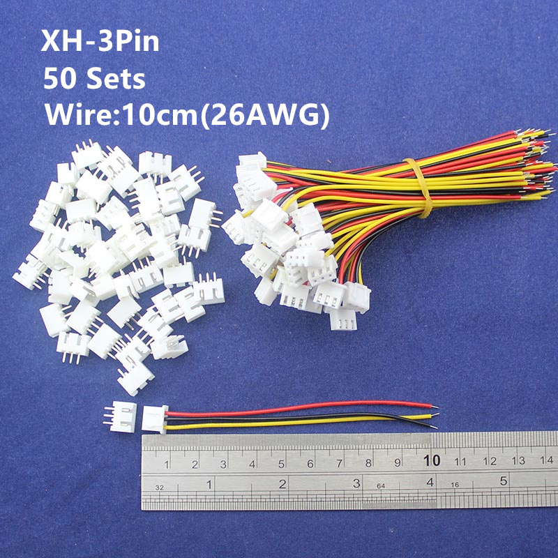 50 sets 3pin 2.54mm Pitch 10cm wire Pin Header / Housing /Terminal  Connector Wire Connectors Adaptor XH-3P Kits 100sets lot connector ch3 96 molex 3 96 3pin 180 degrees top entry pitch 3 96mm pin header terminal housing ch3 96 3p