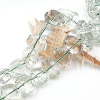 Lii Ji Natural Green Amethyst Irregualr Faceted Beads Approx 10x14mm 11x15mm 40cm/strand For DIY Jewelry Marking