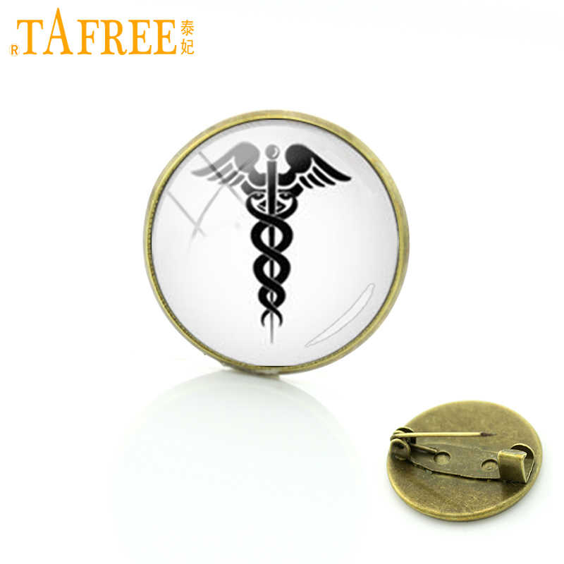 TAFREE Caduceus medical symbol glass metal pins Promotion Upscale silhouette keepsake brooch RN MD physician assistant gift T324