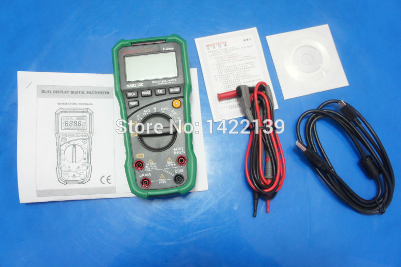 MASTECH MS8250C Digital Multimeter Auto Range Tester Detector ,True RMS ,USB and software ,no-contact voltage detector 1 pcs mastech ms8269 digital auto ranging multimeter dmm test capacitance frequency worldwide store