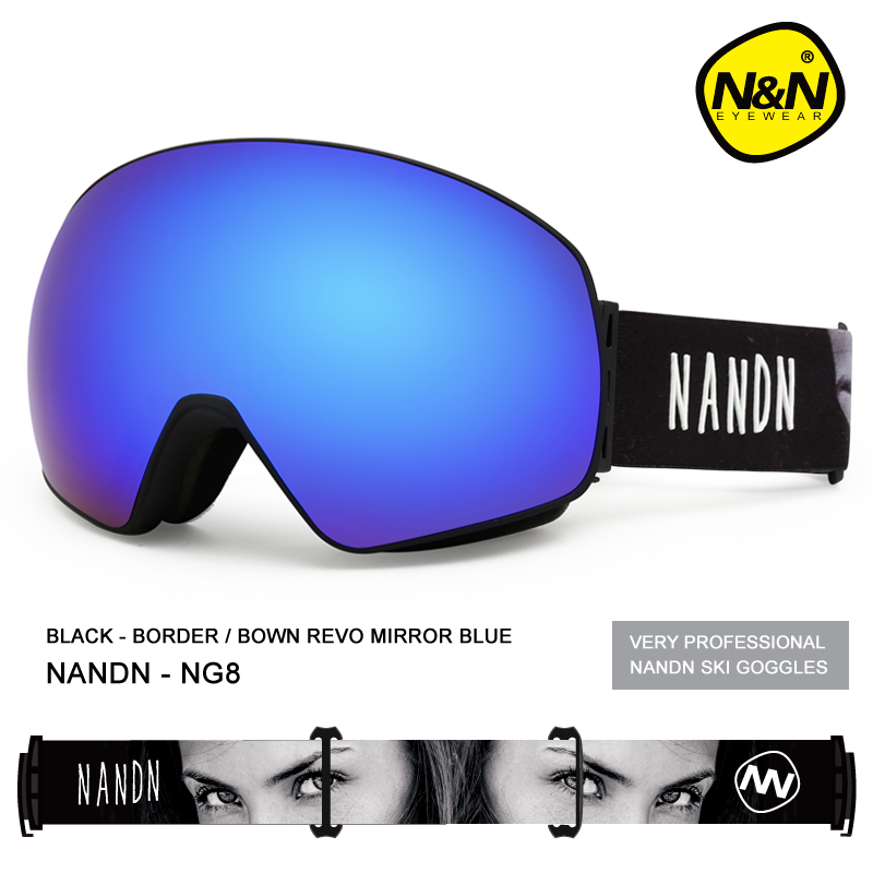 NANDN SNOW Ski Goggles Double Layers UV400 Anti-fog Big Ski Mask Glasses Skiing Men Women Snow Snowboard Goggles