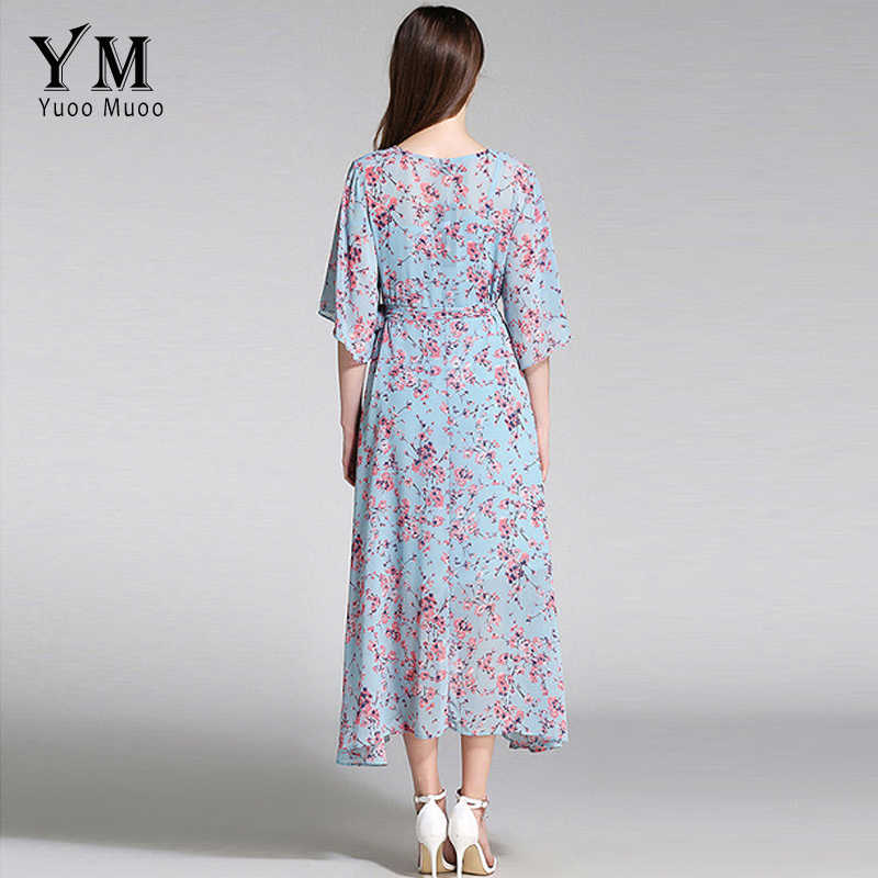 dc6bd801e79 ... YuooMuoo New European Fashion V-neck Long Bohemian Dress Romantic  Floral Print Light Blue Summer ...