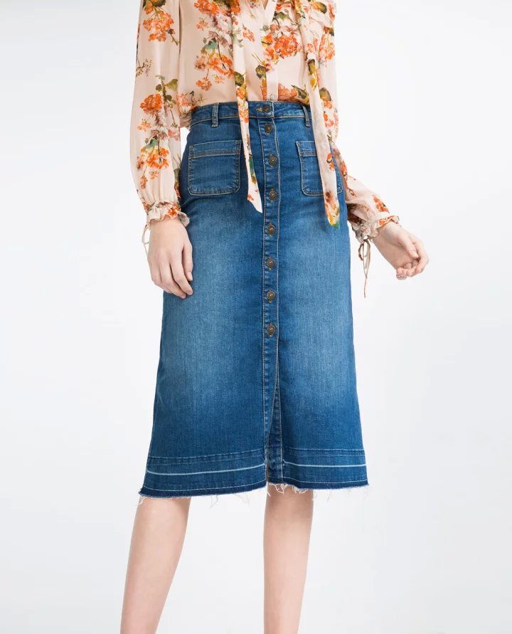 High Quality Button Front Denim Skirt-Buy Cheap Button Front Denim ...