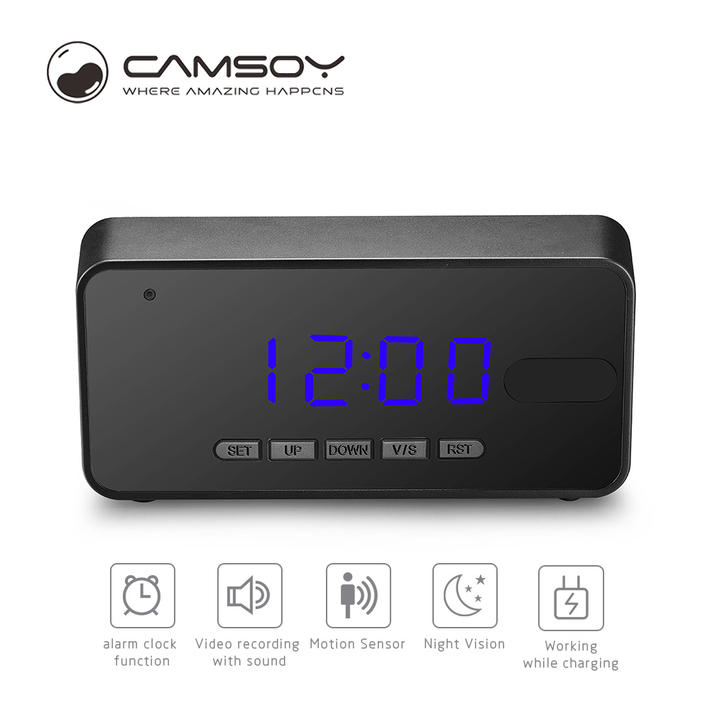 Camsoy T8C Take Clock Camera Alarm Mini Camcorder Digital Mini Cam DVR DV Full HD 1080P Led Alarm Clock Camera Home Security hd 720p table alarm clock wireless wifi ip mini ir camera motion security baby monitor with digital clock home dv cam clock