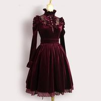 High Quality Spring Autumn Women Office Dress Female Vintage Royal Court Long Evening Party Dress Sexy