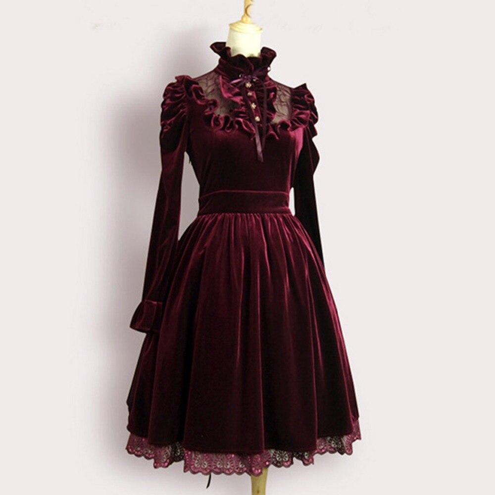 2016 di Alta qualità di autunno della Molla delle donne vestito sexy Femminile Vintage Royal court vestito da partito Da Sera lungo di velluto vestito dalla fasciatura personalizzato