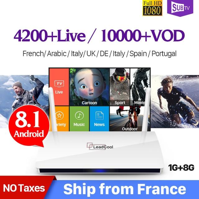 Leadcool France IPTV Box Android 8.1 IP TV 1 an SUBTV IUDTV QHDTV Code IPTV espagne Italia néerlandais belgique français arabe IPTV Box