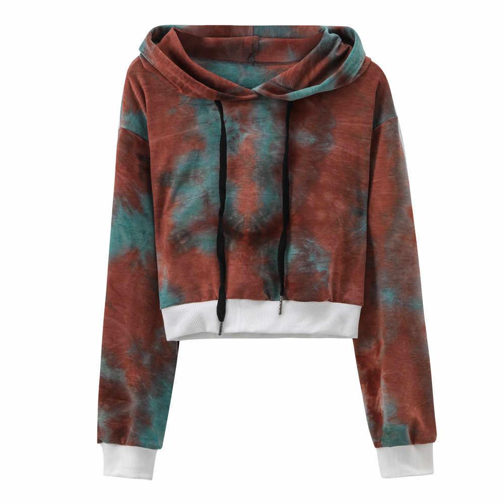 cfaf04f651c71 Fashion hoodies women Sexy Printed Hooded Long Sleeve Short Sweatshirt  Hoodies Tops Blouse sudadera mujer