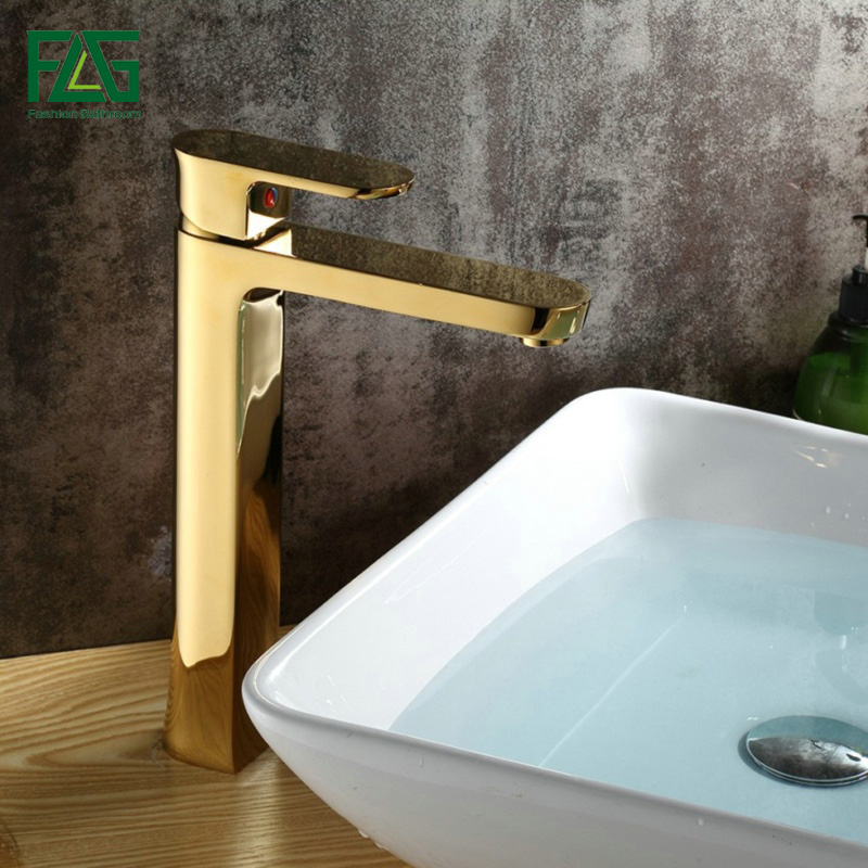 FLG Basin Faucet Golden Plate Nobility Gold Cold Hot Deck Mounted Copper Material Wineglass Toilette Sink