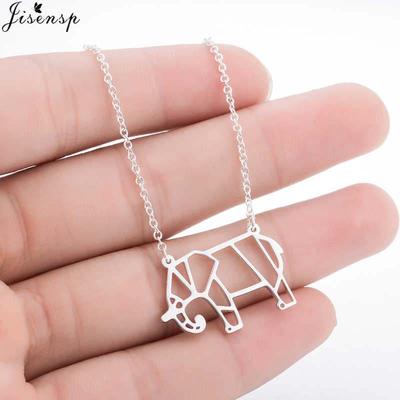 Jisensp New Fashion Jewelry Good Luck Origami Elephant Necklace for Women Kids Statement Cute Animal Pendant Necklace Collares