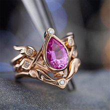 Pear-shaped 14k Rose Gold Angel Wing Wedding Ring for Women Fashion Ruby Anillos De Bizuteria Gemstone Diamante Diamond Rings