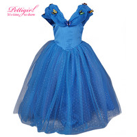 Retail New Cinderella Dress For Blue Girls Party Dresses With Butterfly Children Costume Cosplay Clothes GD50310-01^^LM