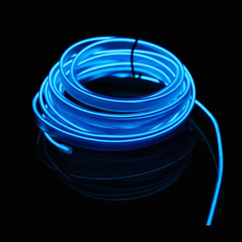 1 M/2 M/3 M/5 M Mobil Interior Lampu Auto LED Strip Garland El Kawat tali Tabung Line Fleksibel Neon Light dengan 12V USB Rokok Drive