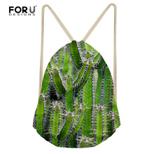 FORUDESIGNS 3D Cactus Print Women Travel Backpack Small Green Leaf Fashion Drawstring Bag for Female Sport Beach Stoage Bags Bag
