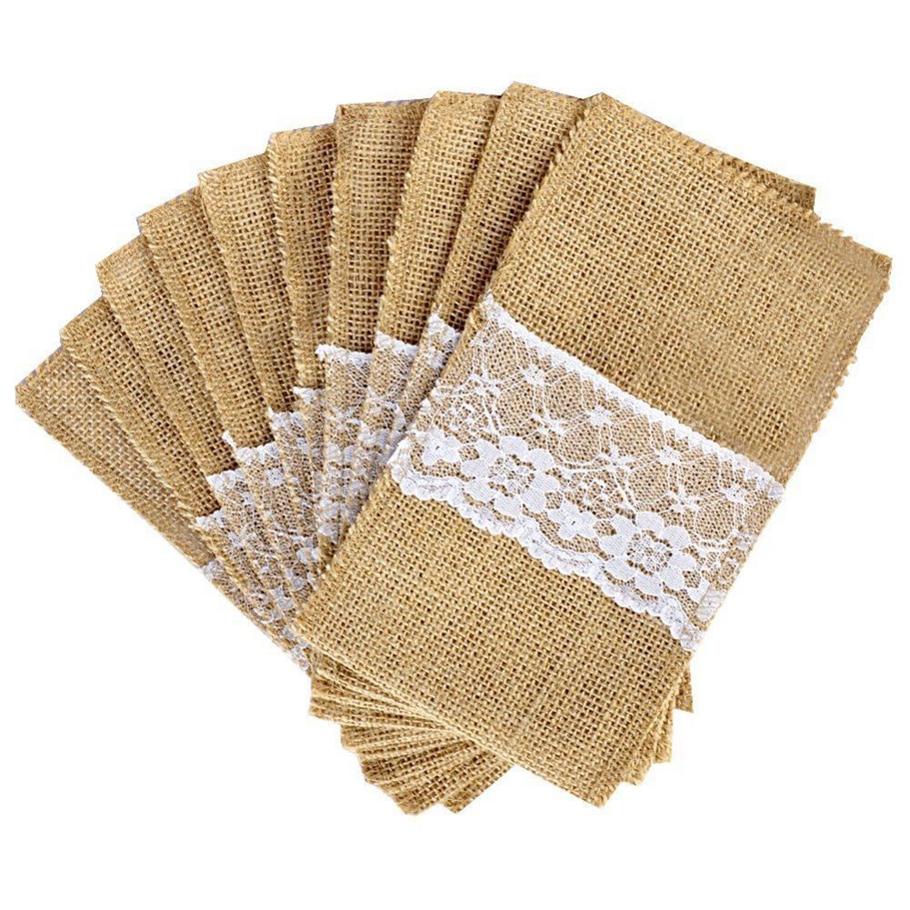 50 Pcs Natural Jute Cutlery Knives And Forks Cutlery Set Silverware Bag Holder Burlap & Lace Party Wedding Decor, 21x11cm