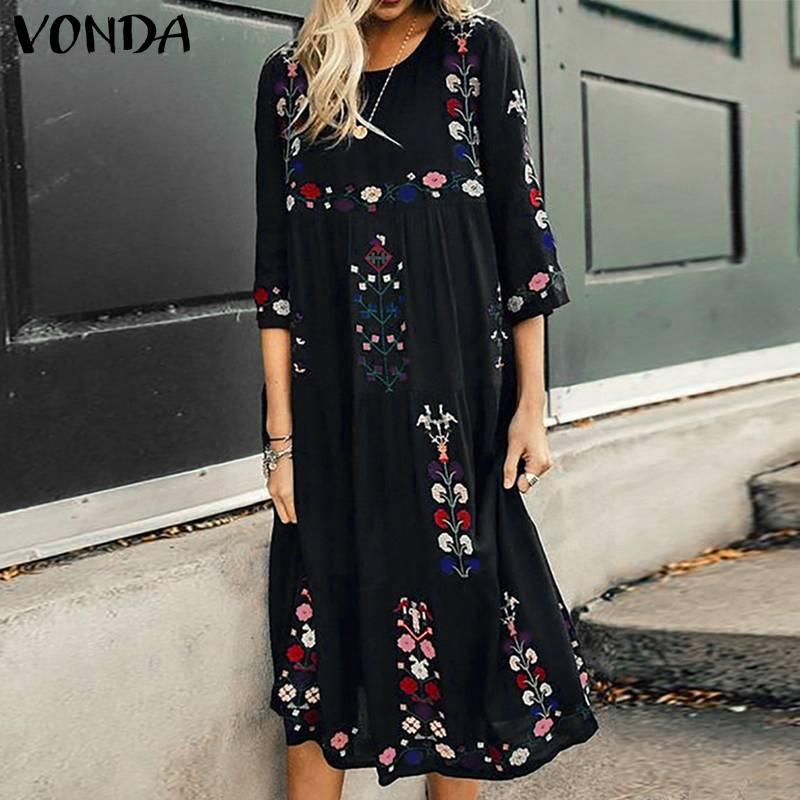 VONDA Bohemian Women Floral Print Dress 2020 Vintage O-Neck 3/4 Sleeve High Waist Dress Casual Loose Mid-Calf Vestido Plus Size