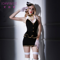 IDARMEE TOP Grade Sexy Flight Attendant Costume Air Hostess Outfits Backless Stewardess Costumes Officer Erotic Dress