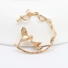 6PCS 27x21.5MM 24K Champagne Gold Color Plated Brass Hummingbird Charms Pendants High Quality Diy Jewelry Accessories