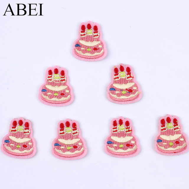 10pcslot Embroidered Birthday Cake Patch Iron On Cartoon Pink Cake