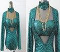 Мода певица спуск костюм dj блестка костюмы боди зеленый сексуальный танцор-посвященный певица платье для ну вечеринку шоу ночной клуб джаз бар