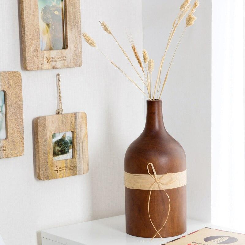 Vases en bois de mangue d'ameublement de mode moderne, accessoires de bureau de fleur artisanat pot de fleur pot de fleur