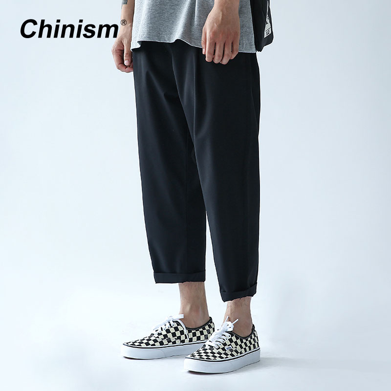 CHINISM Spring Summer Basic Ankle Length Pants Mens Casual Loose Black Ninth pants Elastic Waist Fashion Nine Pant ankle length elastic mens pencil pants