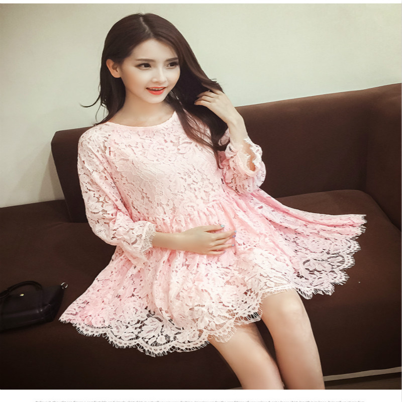 New fashion Spring autumn maternity clothes Hollow out pregnant women dress lace flowers Pink sky blue